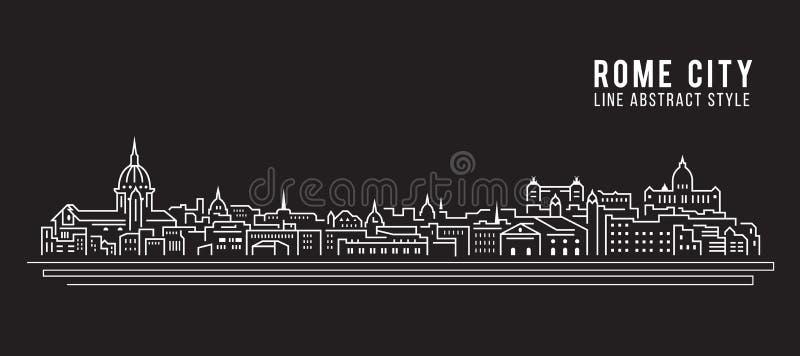 Cityscapebyggnadslinje design för konstvektorillustration - Rome stad royaltyfri illustrationer