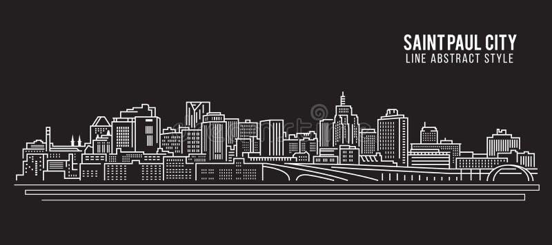 Cityscapebyggnadslinje design för konstvektorillustration - Saint Paul stad vektor illustrationer