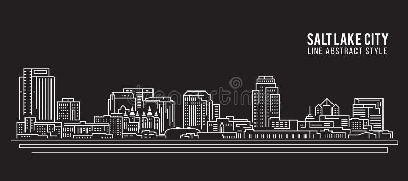 Cityscapebyggnadslinje design för konstvektorillustration - Salt Lake City stock illustrationer