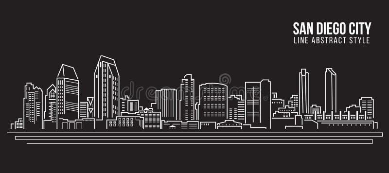 Cityscapebyggnadslinje design för konstvektorillustration - San Diego stad royaltyfri illustrationer