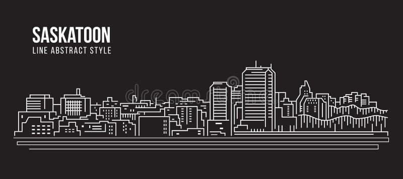 Cityscapebyggnadslinje design för konstvektorillustration - Saskatoon stad stock illustrationer