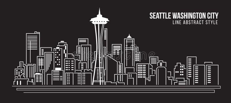 Cityscapebyggnadslinje design för konstvektorillustration - Seattle Washington City royaltyfri illustrationer