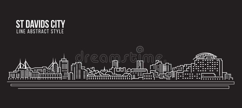 Cityscapebyggnadslinje design för konstvektorillustration - stad för St Davids royaltyfri illustrationer