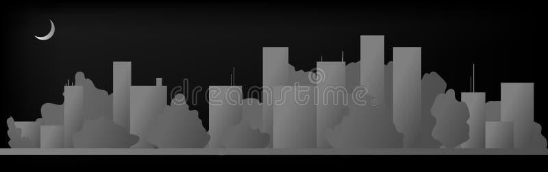 Cityscapebyggnadslinje design för konstvektorillustration - stadstad stock illustrationer