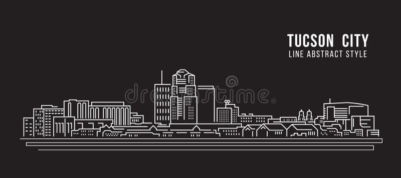 Cityscapebyggnadslinje design för konstvektorillustration - Tucson stad royaltyfri illustrationer