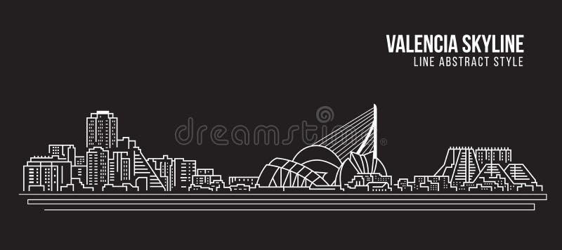 Cityscapebyggnadslinje design för konstvektorillustration - Valencia horisont vektor illustrationer
