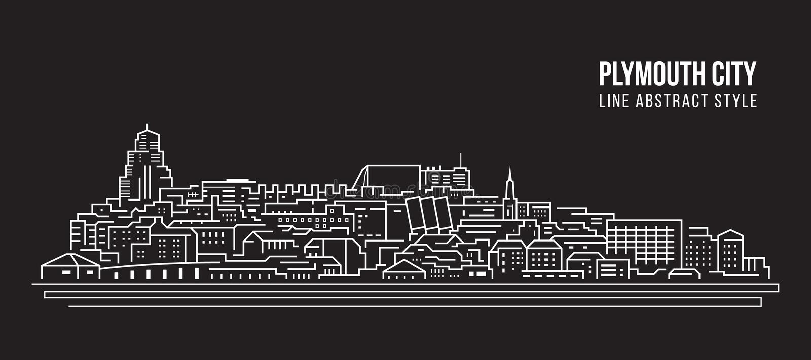 Cityscapebyggnadslinje design för konstvektorillustration - Plymouth stad stock illustrationer