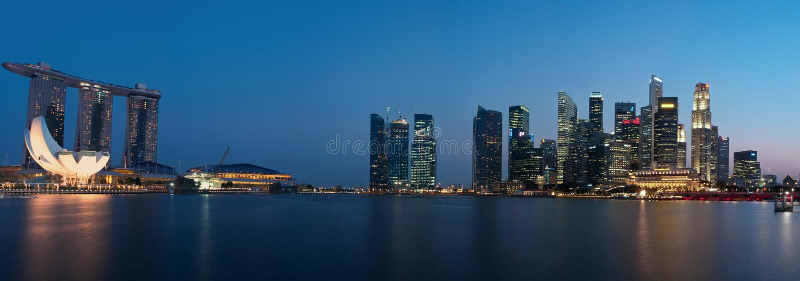 Cityscapepanorama Singapore Redaktionell Bild
