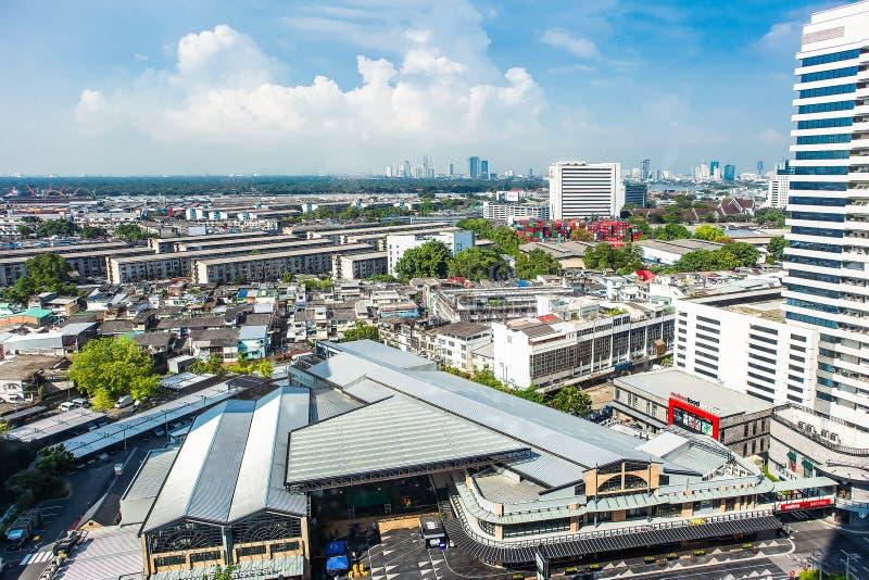 Cityscapes, Building in Klongtoey at Rama 4 road Bangkok Thailand. May 19, 2018 royalty free stock photography