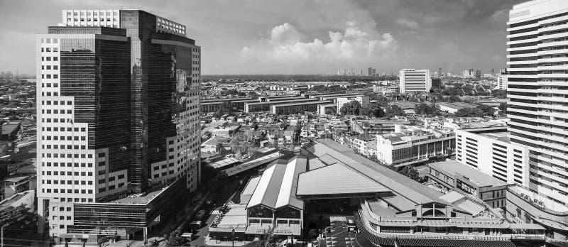 Cityscapes, Building in Klongtoey at Rama 4 road Bangkok Thailand. May 19, 2018 royalty free stock photos