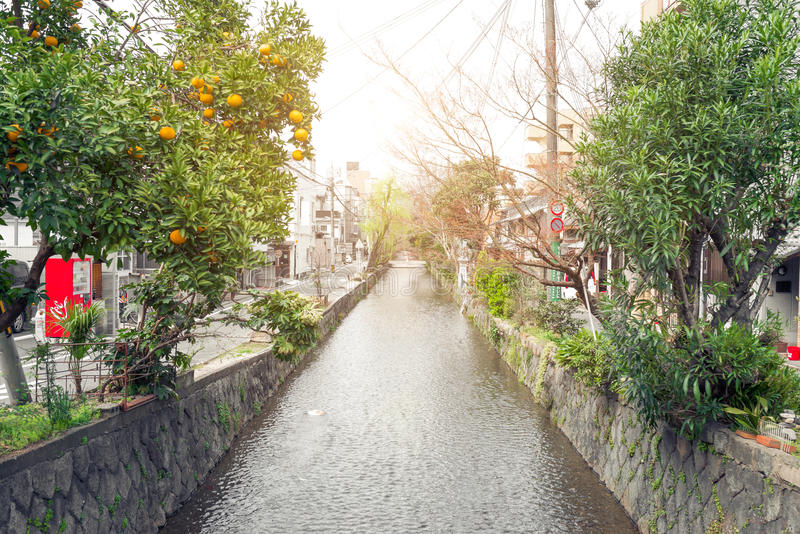 Cityscapes canal at sunset in Kyoto, Japan. royalty free stock image