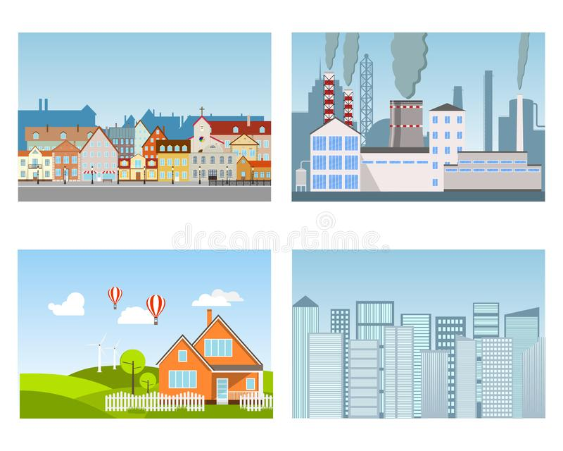 cityscapes Industrieel district, oude stad, moderne megapolis, voorstad royalty-vrije illustratie