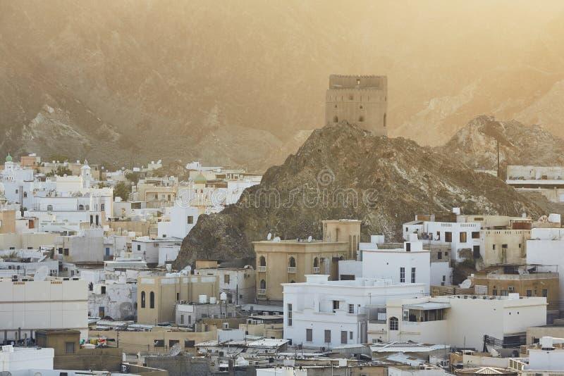 Cityscapesikt av Muscat arkivfoto