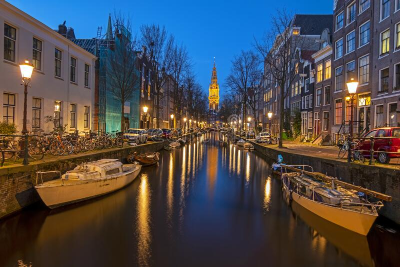 Cityscenic from Amsterdam in the Netherlands with the Zuiderkerk at night stock images