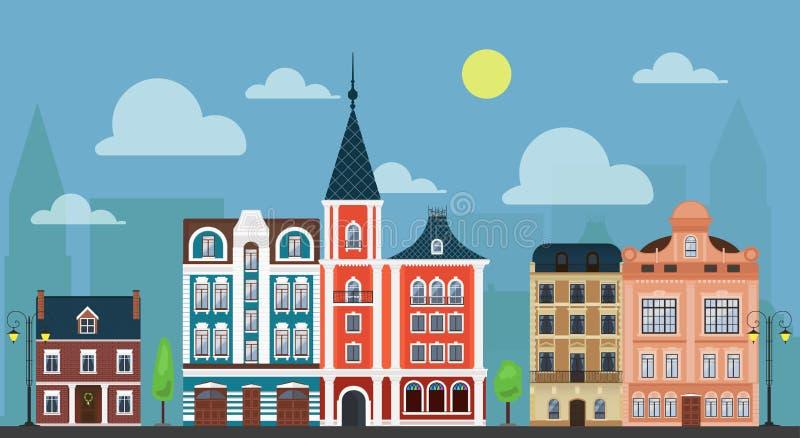 Cityshape de ville de ville Maisons démodées de luxe et d'autres bâtiments illustration de vecteur