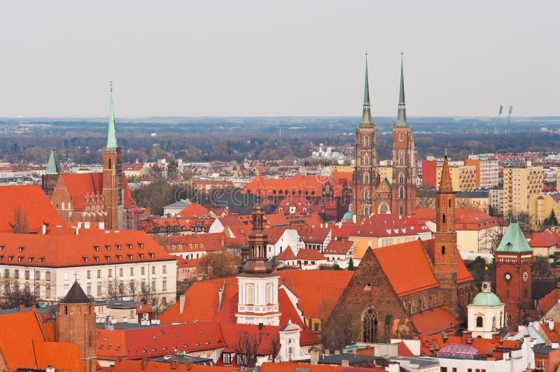 Cityskape van Wroclaw, Polen stock afbeelding