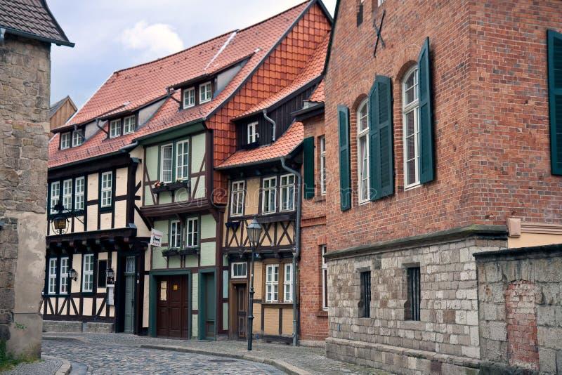 Cityview der mittelalterlichen Stadt Quedlinburg in Deutschland stockbild