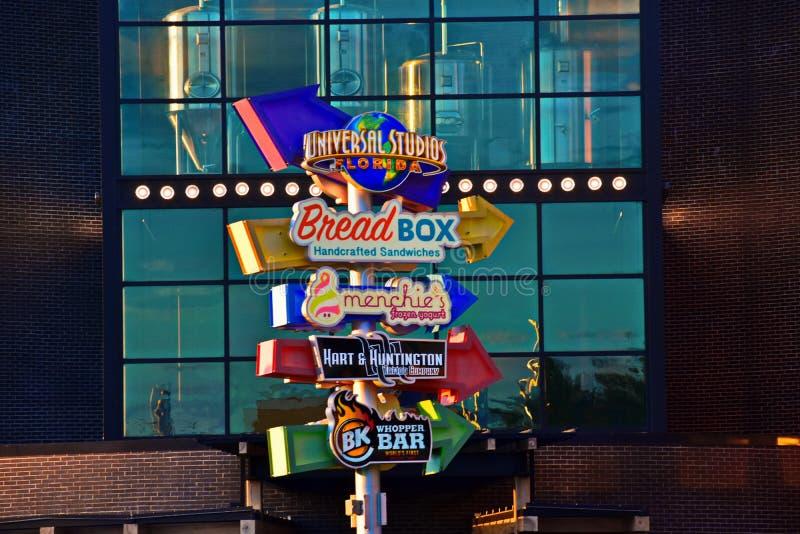 Citywalk signs at Universal Studios in Orlando, Florida. Orlando, Florida USA; July 31, 2018 Citywalk signs at Universal Studios in Orlando, Florida stock images