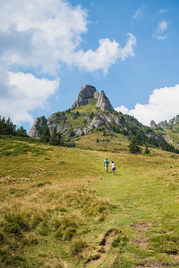 Ciucas Mountains, Romania, a sunny summer day, vertical landscape royalty free stock image