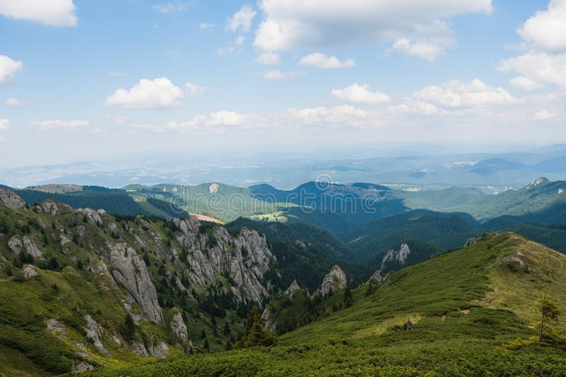 Ciucas Mountains, Romania, a sunny summer day, clouds on sky stock photography