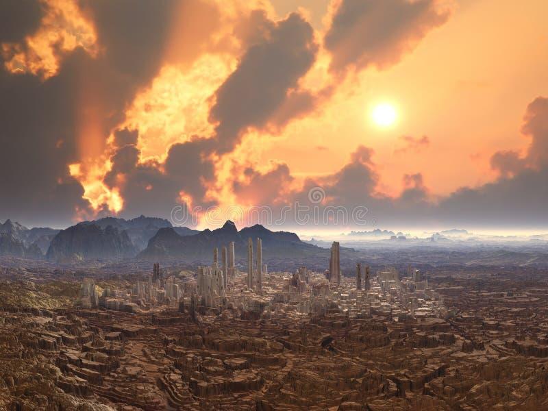 Ciudad abandonada en el planeta extranjero ilustración del vector
