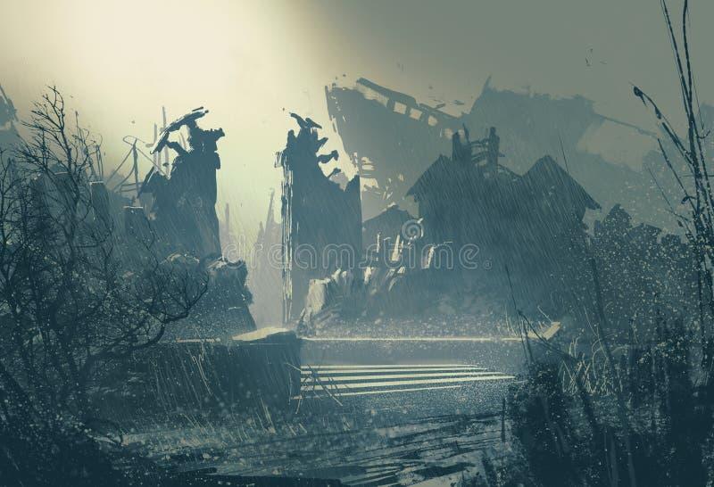 Ciudad abandonada en fuertes lluvias ilustración del vector