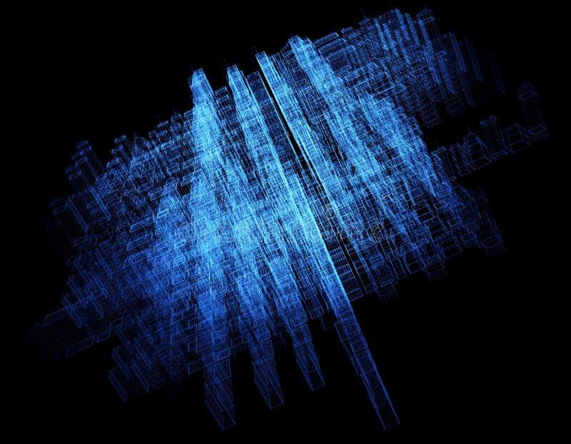 Ciudad abstracta de Digitaces hecha de puntos que brillan intensamente Rascacielos del asunto Edificios del holograma Estructura  ilustración del vector