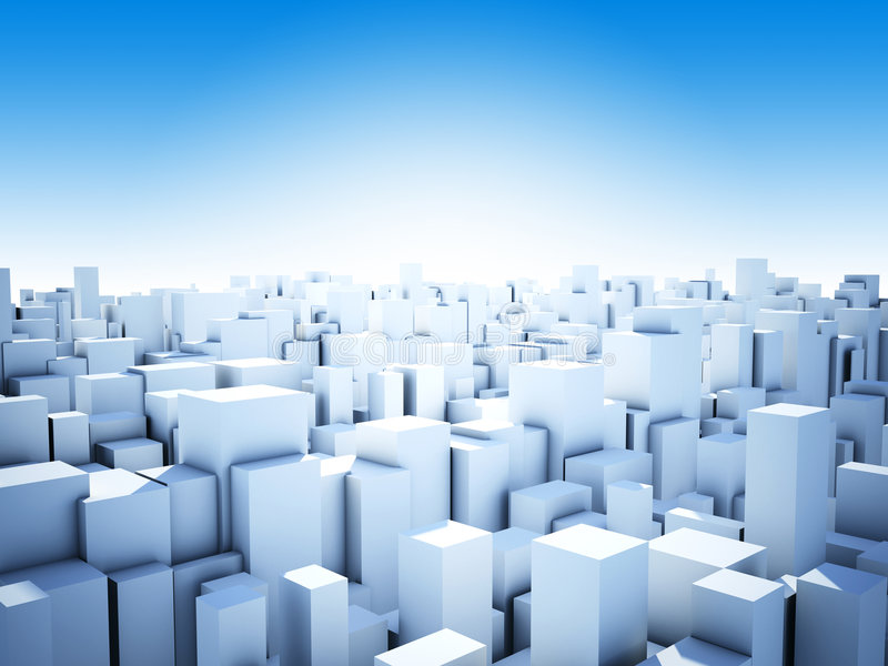 Ciudad abstracta del cubo stock de ilustración