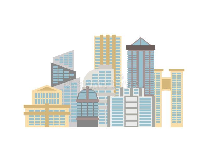 Ciudad aislada Ciudad en el fondo blanco Muchos edificios y busi libre illustration