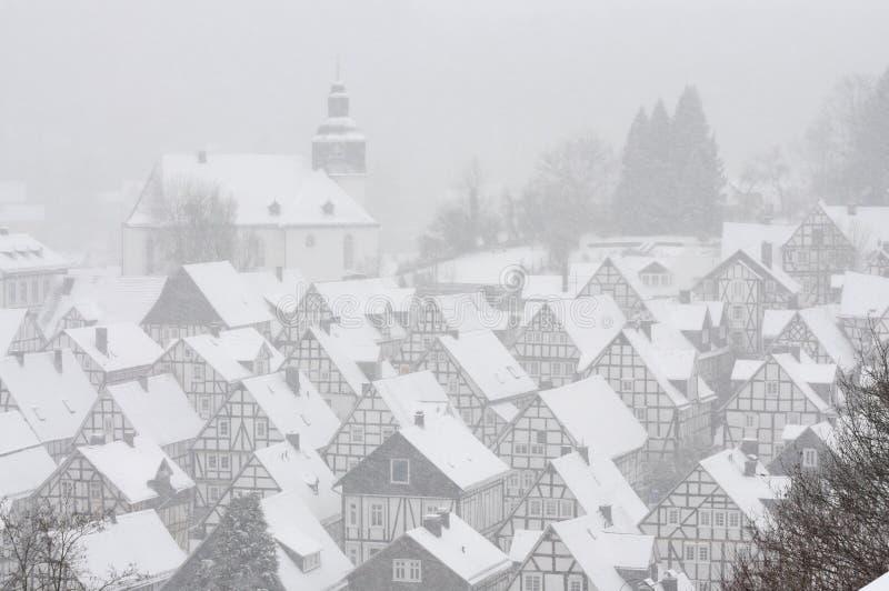 Ciudad alemana en invierno imagen de archivo libre de regalías