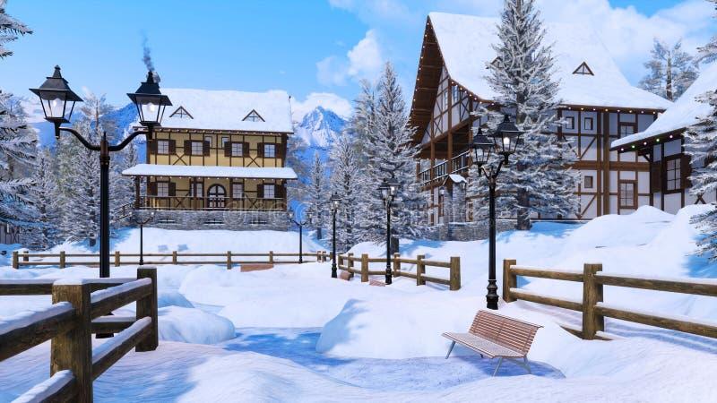 Ciudad alpina nevada de la montaña en el día de invierno libre illustration
