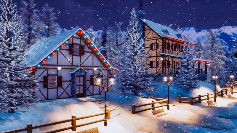 Ciudad alpina nevada en la noche del invierno de las nevadas ilustración del vector