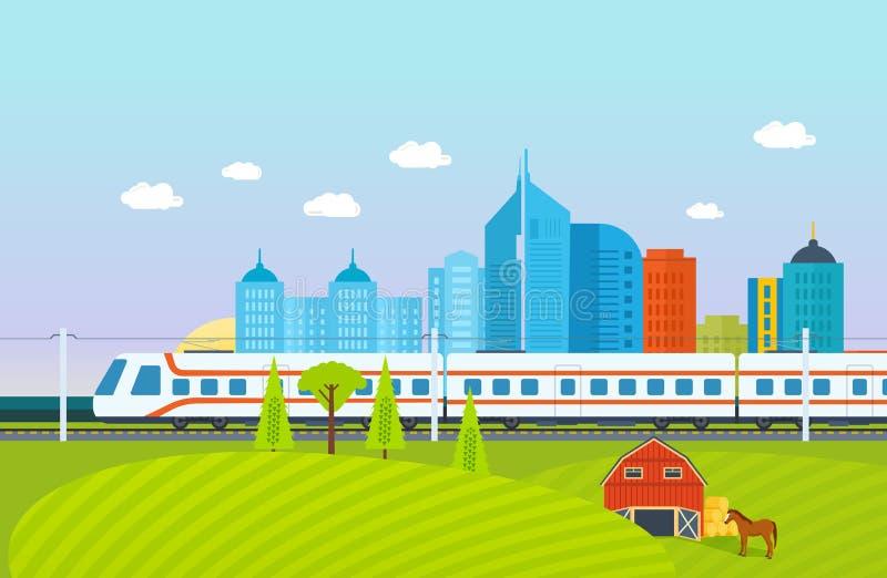 Ciudad, alrededores, paisaje, campos y granjas, subterráneo, tren, ferrocarril, edificios ilustración del vector
