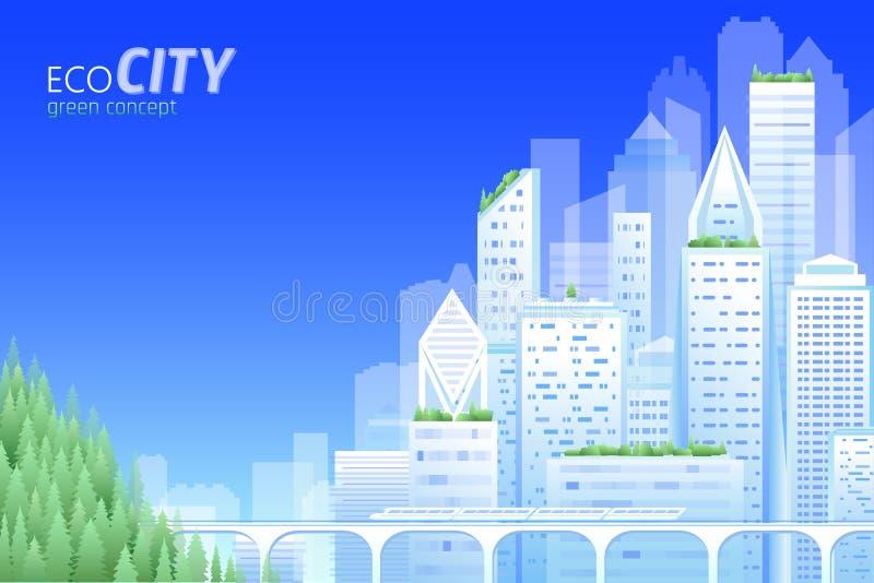 Ciudad amistosa de la ecología Día verde del ambiente mundial del horizonte del paisaje urbano de la energía Ahorre la tierra del ilustración del vector