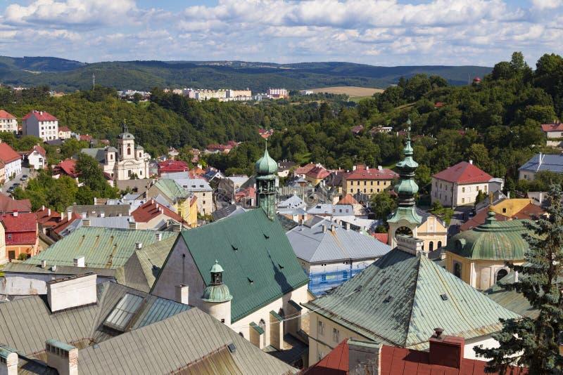Ciudad antigua Banska Stiavnica, Eslovaquia, la UNESCO Azoteas de la ciudad vieja imagenes de archivo
