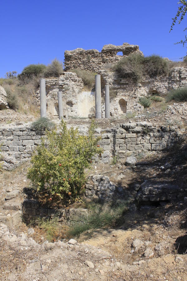 Ciudad antigua de Bizantine de Ashkelon bíblico en Israel imágenes de archivo libres de regalías