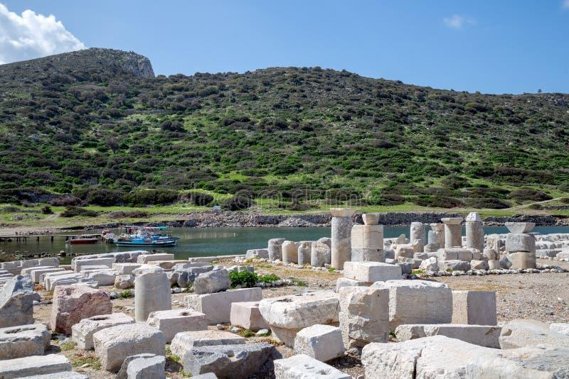 Ciudad antigua de Knidos Cnidus en la península de Datca, Mugla, TURQUÍA fotografía de archivo