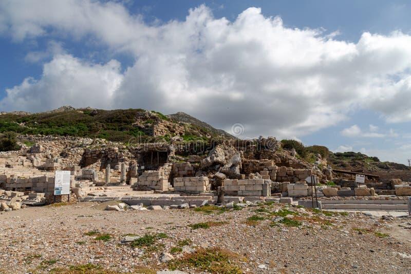 Ciudad antigua de Knidos Cnidus en la península de Datca, Mugla, TURQUÍA fotos de archivo libres de regalías