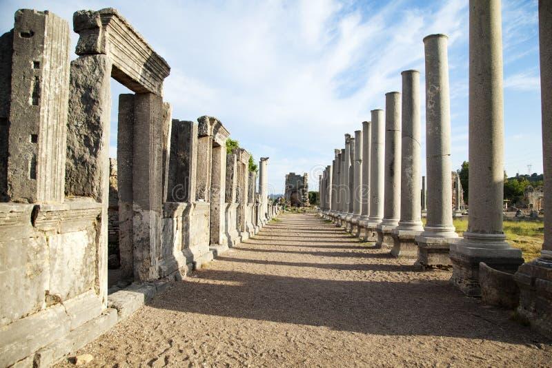 Ciudad antigua de Perge cerca de Antalya Turqu?a fotografía de archivo libre de regalías