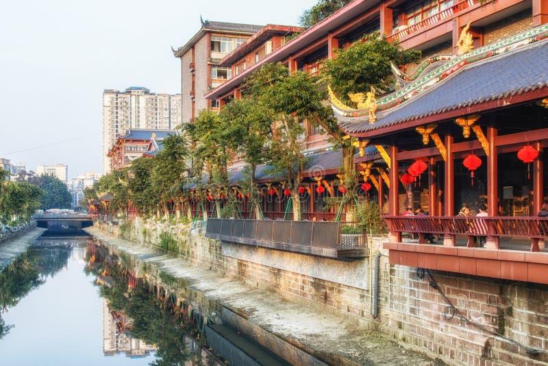 Ciudad antigua en Chengdu, Sichuan Chengdu tiene una historia de más de 3000 años y es uno de la ciudad más vieja de China imágenes de archivo libres de regalías