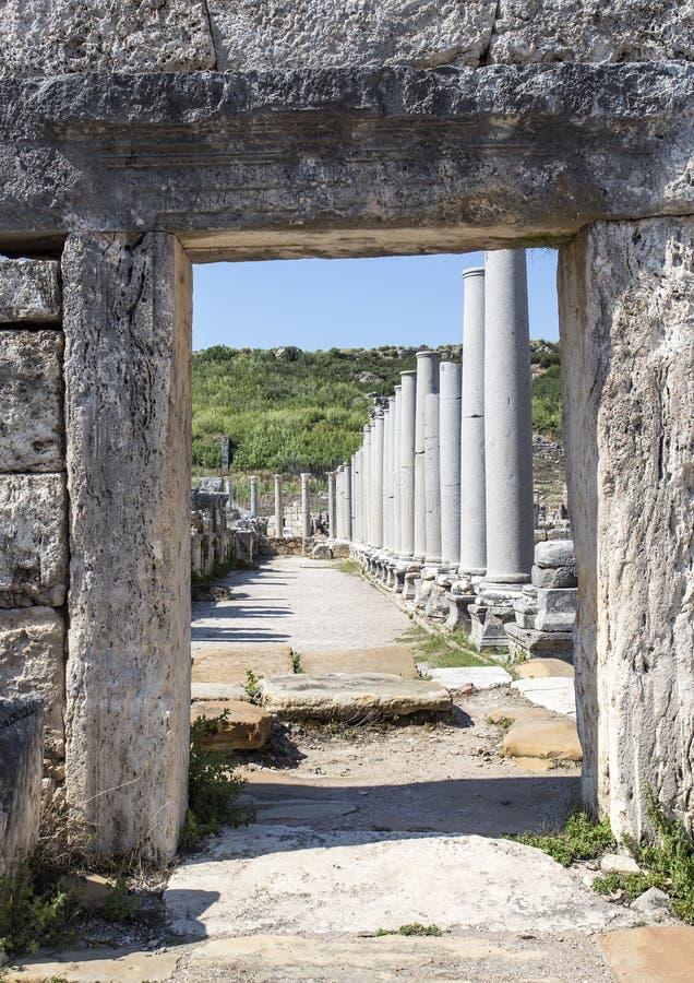 Ciudad antigua hist?rica de Turqu?a Antalya Perge Foto del concepto del viaje imagenes de archivo