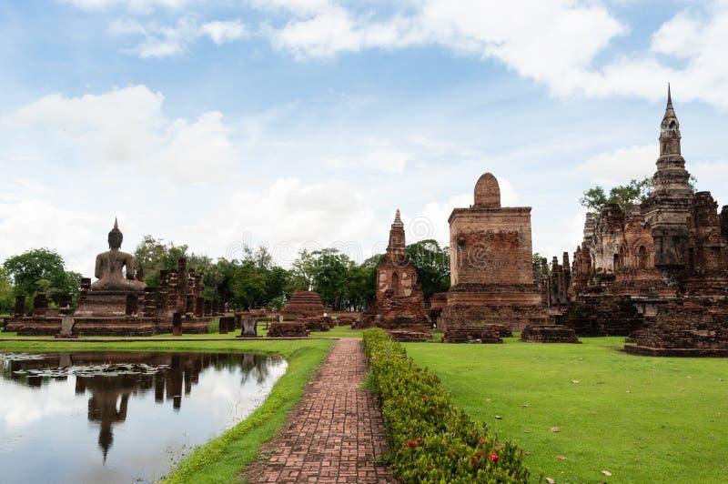 Ciudad antigua y de la ruina de Sukhothai fotografía de archivo