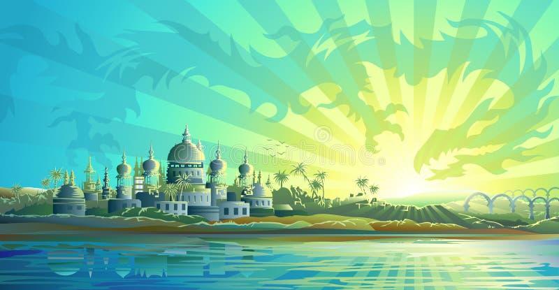 Ciudad antigua y un dragón del cielo libre illustration