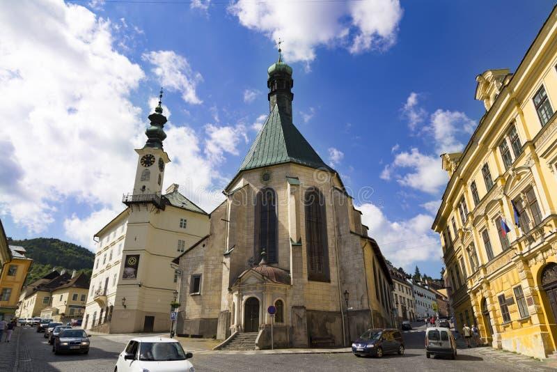 Ciudad Banska Stiavnica, Eslovaquia Calle del sity viejo foto de archivo libre de regalías