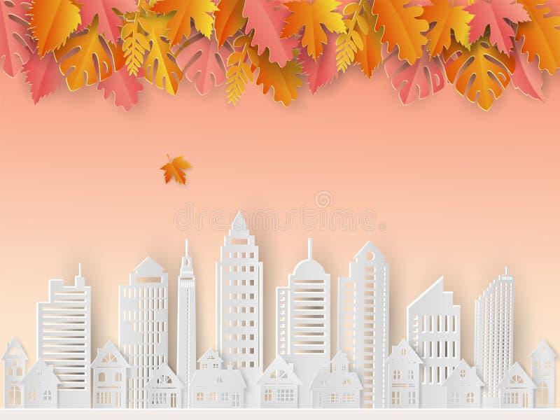 Ciudad blanca con las hojas hermosas en humor del otoño, corte del papel y el estilo del arte para el exterior minimalista de la  libre illustration