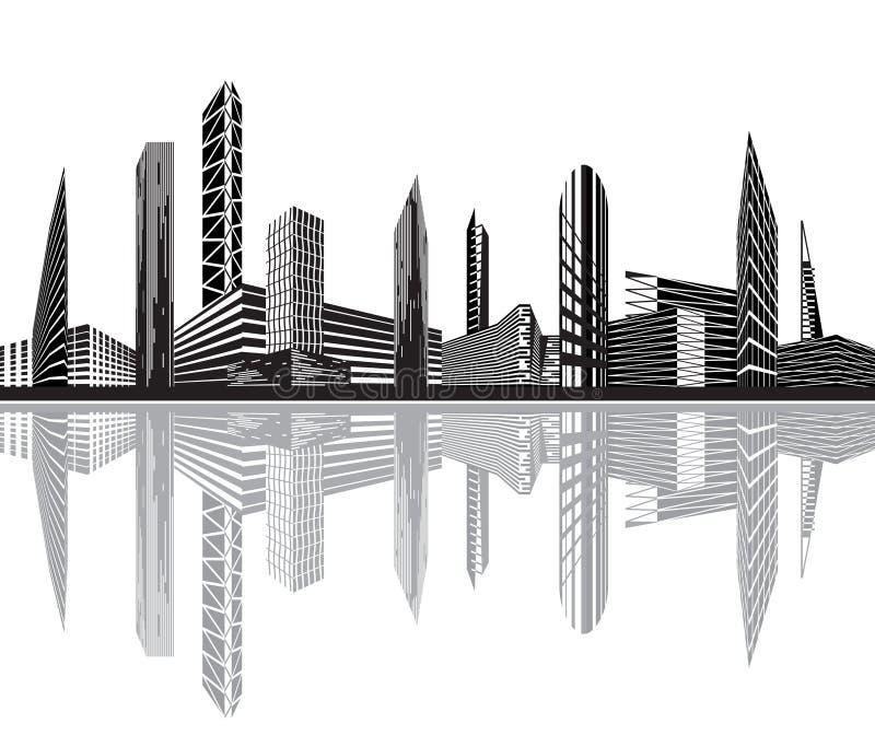 Ciudad blanco y negro libre illustration