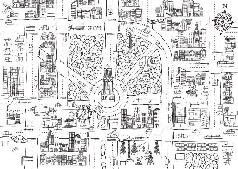 Ciudad blanco y negro de la historieta para el colorante adulto ilustración del vector