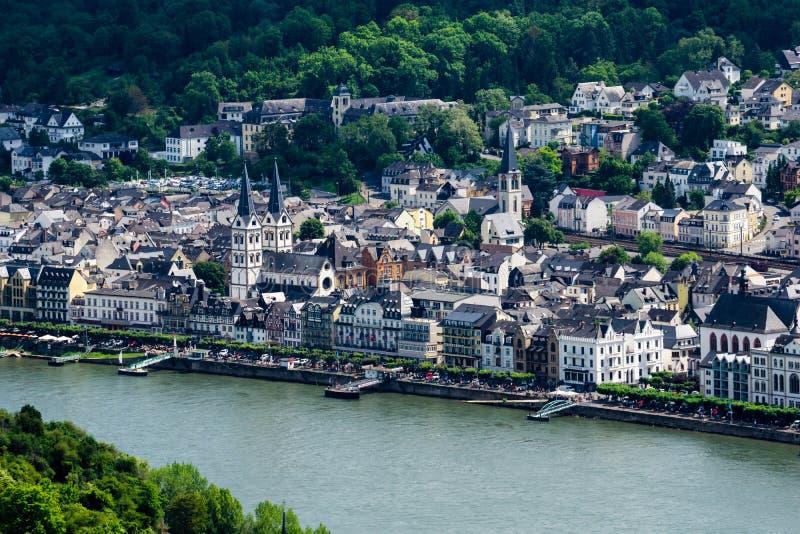Ciudad Boppard en el Rin en Alemania fotografía de archivo libre de regalías