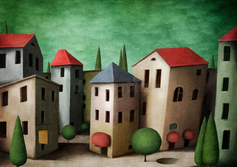 Ciudad brillante stock de ilustración