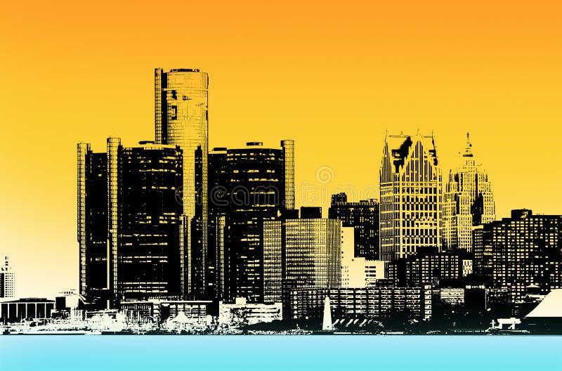 Ciudad céntrica de Detroit imágenes de archivo libres de regalías
